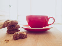 Hot cocoa and chocolate chips cookies. Royalty Free Stock Images