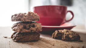 Hot cocoa and chocolate chips cookies. Royalty Free Stock Image