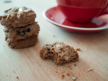 Hot cocoa and chocolate chips cookies. Royalty Free Stock Photo