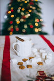 Hot cocoa with cinnamon stick, marshmallows and cookies Royalty Free Stock Photo