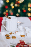 Hot cocoa with cinnamon stick, marshmallows and cookies Royalty Free Stock Photography