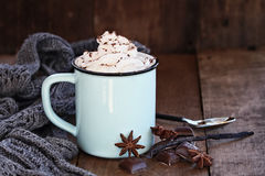 Hot Cocoa or Coffee with Whip Cream Royalty Free Stock Images