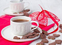 Hot cocoa and cookies hearts. Selective focus. Hot cocoa and cookies hearts Stock Photography
