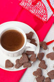 Hot cocoa and cookies hearts. Selective focus. Hot cocoa and cookies hearts Stock Photos