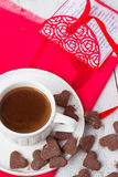 Hot cocoa and cookies hearts. Selective focus. Hot cocoa and cookies hearts Royalty Free Stock Photography
