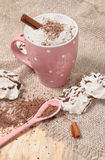 Hot cocoa drink with cream Stock Photos