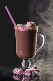 Hot cocoa drink with marshmallow. On a black background Stock Images