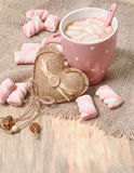 Hot cocoa drink with marshmallows Stock Photos