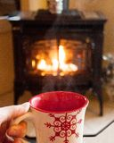 Hot Cocoa by the Fireplace stock image