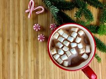 Hot cocoa flatlay. Hot cocoa with marshmallows overhead view Royalty Free Stock Images