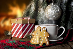 Hot Cocoa Gingerbread People Royalty Free Stock Photos