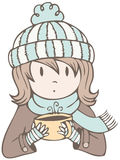 Hot Cocoa Girl Stock Image