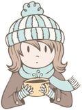 Hot Cocoa Girl Stock Image