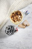 Hot cocoa with homemade cookies Stock Photos
