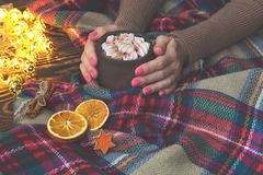 Hot cocoa with marshmallow in hand girl in knitted sweater, blanket and dry oranges with christmas lights. Christmas, winter, New Royalty Free Stock Photography