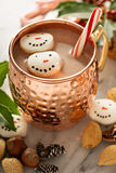 Hot cocoa with marshmallow snowmen stock image