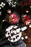 Hot Cocoa with Marshmallows and Chocolate Sauce Stock Image