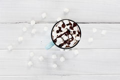 Hot Cocoa with Marshmallows and Chocolate Sauce Royalty Free Stock Photo