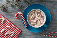 Hot cocoa with marshmallows on Christmas day Royalty Free Stock Photos
