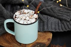 Hot Cocoa with Marshmallows and Cinnamon Stick Stock Photo