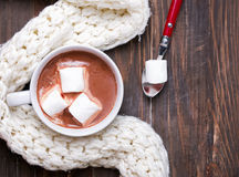 Hot cocoa with marshmallows in white cup Stock Photos