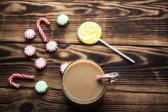 Hot cocoa mint candy holiday. A hot cocoa mint candy holiday Stock Image