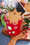 Hot cocoa mug with gingerbread cookie Stock Image