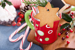 Hot cocoa mug with gingerbread cookie Royalty Free Stock Photos