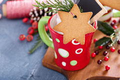 Hot cocoa mug with gingerbread cookie Stock Photos