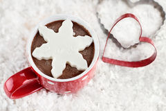 Hot Cocoa with Snowflake Shaped Whip Cream Royalty Free Stock Image