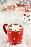 Hot Cocoa with Whipped Cream Stock Photo