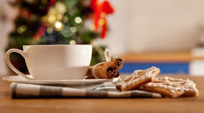 Hot coffe with christmas cookies royalty free stock photography