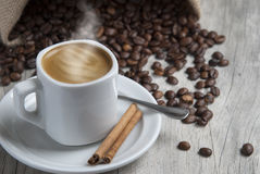 Hot coffe with cinnamon. Royalty Free Stock Photo