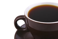 Hot Coffe In Brown Ceramic Mug Over White Stock Photos