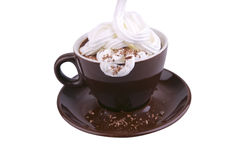 Hot coffe with milky cream and chocolate cream Royalty Free Stock Image