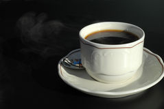 Hot coffee. A cup of fresh and hot coffee Stock Photos