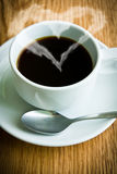 Hot coffee. Coffee cup  on Wooden table Stock Photo