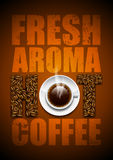 Hot coffee. Background with coffee beans and a cup of coffee Stock Photography