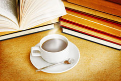 Hot Coffee. And Books With Dramatic Look Stock Image