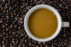 Hot coffee. Coffee cup and coffee  beans Stock Photos