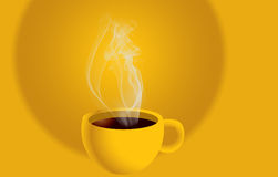 Hot coffee. Cup with gradient background Stock Image