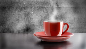 Hot Coffee. A red Cup of Italian Coffee Royalty Free Stock Image