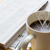 Hot coffee, ball-point and newspaper 2 stock images