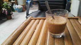 Hot coffee. Bamboo chiar morning Stock Image