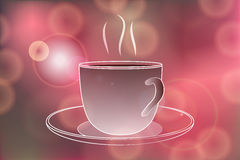 Hot coffee banner with Hot coffee steam on Festive bokeh Stock Image