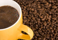 Hot coffee and beans motive Stock Image