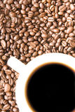 Hot coffee and beans motive Royalty Free Stock Images
