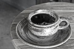 Hot coffee black and white Royalty Free Stock Images