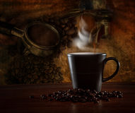 Hot coffee blending roast on wood table stock images