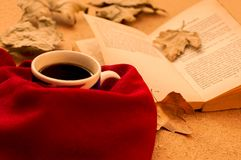 Hot coffee, book, and autumn leaves on wood background royalty free stock images